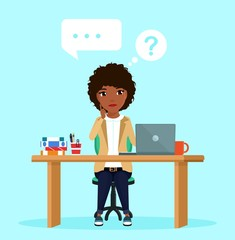 The girl sitting at the workplace thought about solving the problem. Speech bubbles. Business and Finance. In flat style on blue background. Cartoon.
