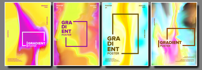 Gradient Fluid Poster Set Vector. Cool Brochure. Simple Catalog. Trendy Placard. Annual Report. Banner Element. Modern Flow. Liquid Design Illustration