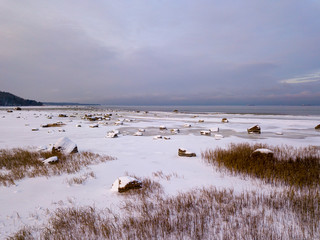 Frozen beach view by the baltic sea