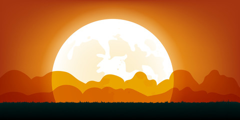 Halloween Background with Full Moon. Vector Illustration.