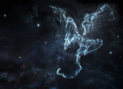 Cosmic nebula with dragon shape