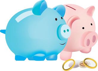 coppia di maialini con anelli e confetti