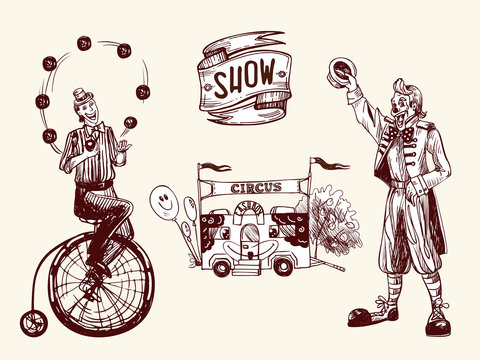 Circus illustration with juggler, funny clown and cashbox with balloons. Vector illustration in sketch and vintage style.
