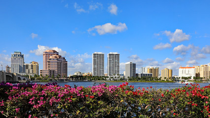 The skyline of downtown West Palm Beach, Florida and the Lake Worth Lagoon.