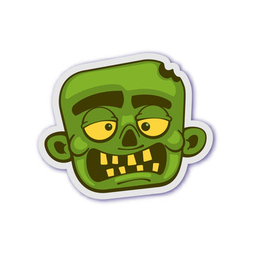 Zombie head. Isolated vector illustration.