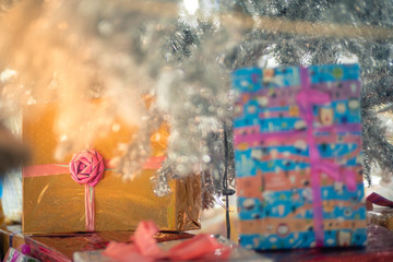 New year or Christmas presents, gifts.Group of presents with fake light. Christmas and New Year holidays background .