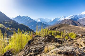 Scenic view of Hunza Valley in autumn between the Karakoram Mountain range in Pakistan
