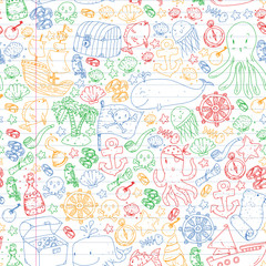 Vector pirate pattern for small boys and girls. Kindergarten, birthday party. Wallpaper for children room, wrapping paper.