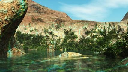 Oasis among the stone desert, the lake among the rocks, a beautiful mountain reservoir,