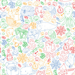 Vector pirate pattern for small boys and girls. Kindergarten, birthday party. Wallpaper for children room, wrapping paper