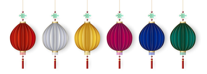 Set of lantern, design for chinese holiday, vector illustration.