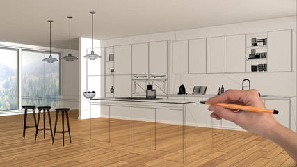 Empty white interior with parquet floor and big panoramic window, hand drawing custom architecture design, black ink sketch, blueprint showing modern kitchen