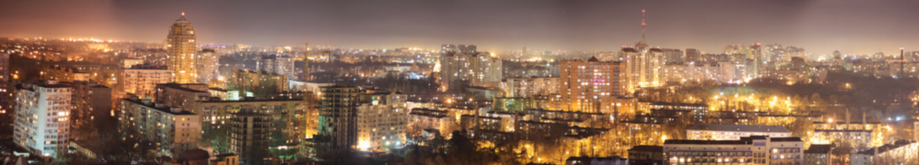 From above night view of Odessa city burning with lights in night time, Ukraine.