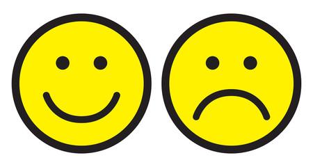 Happy and sad face icons.