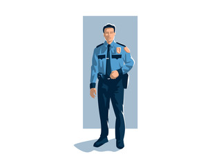 Policeman in trousers, shirt and tie.