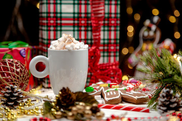 cocoa with marshmallows on a white background, Christmas mood, Christmas toys, Christmas cookies