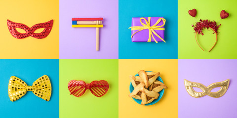 Jewish holiday Purim background with carnival mask, hamantaschen cookies and noisemaker