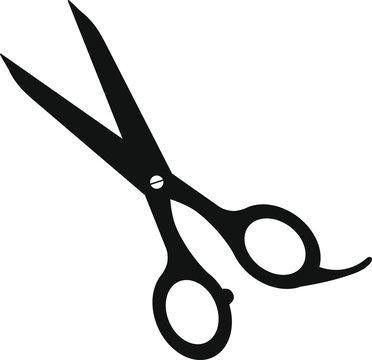 Scissors vector icon. Isolated black scissors on white background