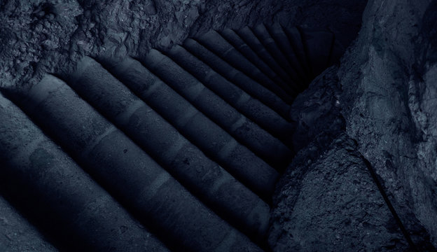 terrible dark atmospheric stairs in medieval castle stone upstairs corridor path way in twilight blue color environment