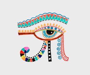 drawing of ancient egyptian moon sign - left eye of horus