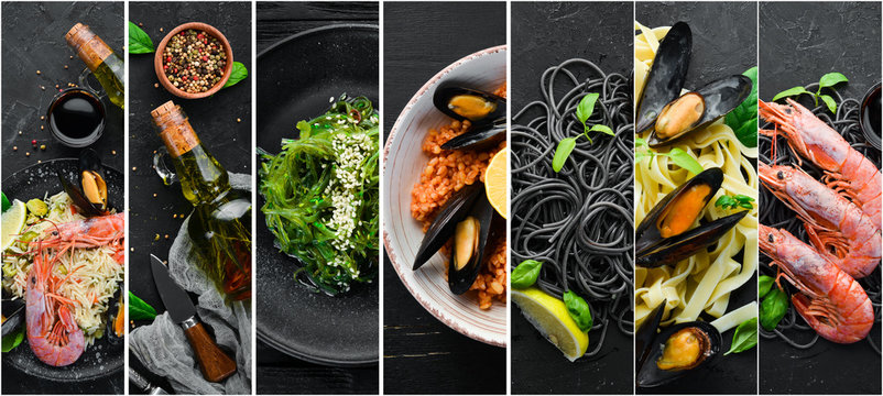 A photo collage of seafood dishes. Top view on black background.