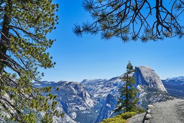 The most beautiful Yosemite National Park in the world, dense trees, fresh air, blue sky