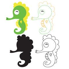 seahorse worksheet vector design