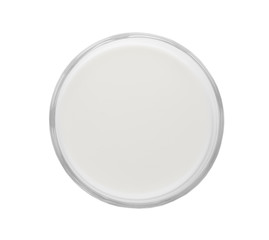 Glass with fresh milk isolated on white, top view