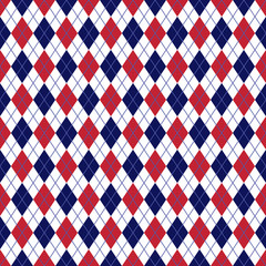 Red and Navy Argyle Seamless Pattern - Red, white, and navy blue argyle design