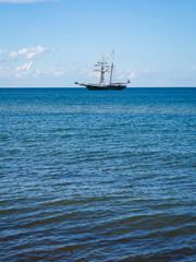Retro sail boat on the sea