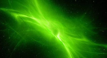 Green glowing interstellar plasma field in deep space