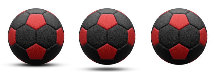 black and red soccer ball in three versions, with shadow and without. Isolated on white. 3d render.
