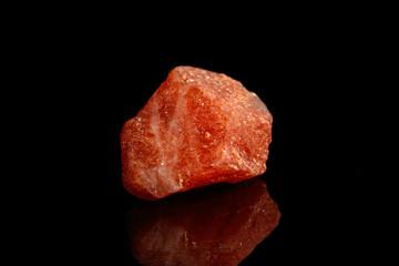 Macro mineral stone Nepheline sunny stone black background
