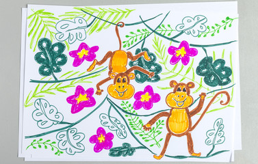Kid drawing of cute monkeys on plants isolated on white background.