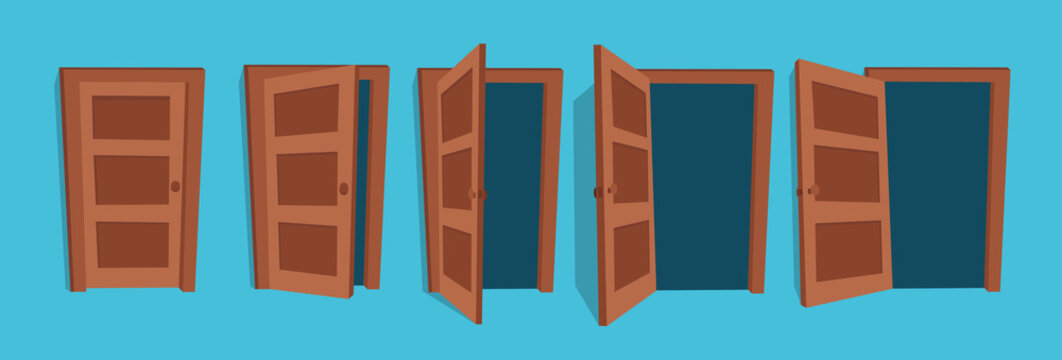 Cartoon vector illustration of the open and closed doors.