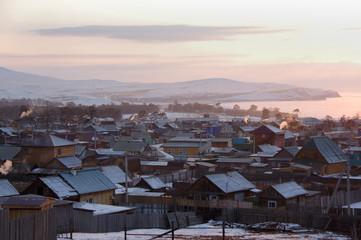 The village Khuzhir in winter