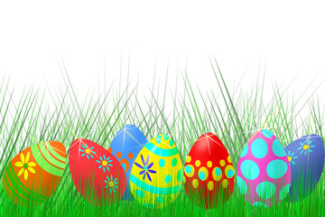 set of colored Easter eggs on fresh grass background and white background
