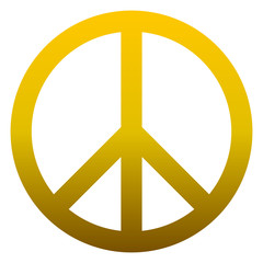 Peace symbol icon - golden simple gradient, isolated - vector