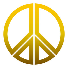 Peace symbol icon - golden simple gradient, segmented outlined shapes, isolated - vector