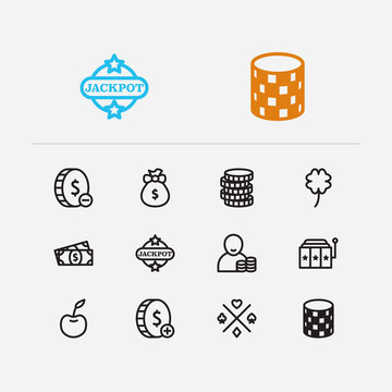 Gambling icons set. Gamble chance and gambling icons with lucky, lose money and jackpot. Set of addiction for web app logo UI design.