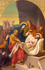 Wall Mural - PRAGUE, CZECH REPUBLIC - OCTOBER 15, 2018: The painting of Burial of Jesus in church Bazilika svatého Petra a Pavla na Vyšehrade by František Čermák (1822 - 1884).
