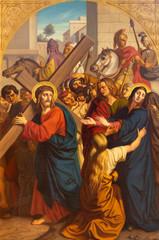 Fototapete - PRAGUE, CZECH REPUBLIC - OCTOBER 15, 2018: The painting of Jesus meet his mother in church Bazilika svatého Petra a Pavla na Vyšehrade by František Čermák (1822 - 1884)