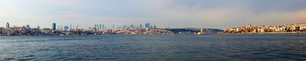 Sea view to Istanbul.Asian and Europe coasts. Ferry boat trip