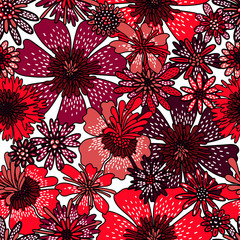Seamless flower pattern. Decorative red and pink flowers drawn by hand. Bright print for textiles. Handwork. Vector illustration.