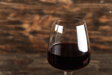 a glass of red wine close-up