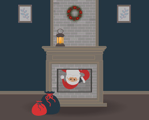 Christmas eve. Cute funny Santa Claus sneaks into the house through the fireplace and you can only see his face.A beautiful Christmas wreath and an old lamp with a candle. For websites, press.Vector