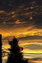 朝焼けと赤信号