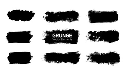 Art graphics shapes elements. Abstract black paint ink brush stroke for your design use. Modern banners template set. Grunge vector illustration background. Dirty stains frame with copy space.
