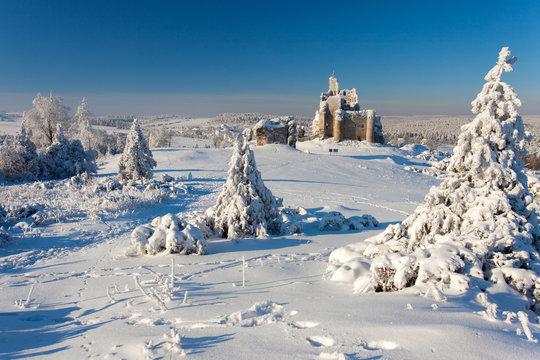 ruins of the castle in Mirow in the winter, Jura Krakowsko Czestochowska region, Poland