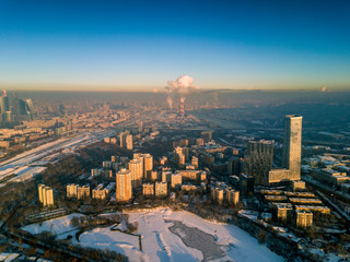 The view from the height of the panorama of winter Moscow in the evening